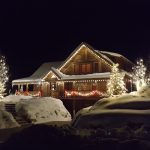 photo of holiday lights on home