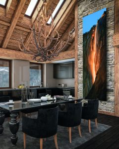 photo of dining room with art